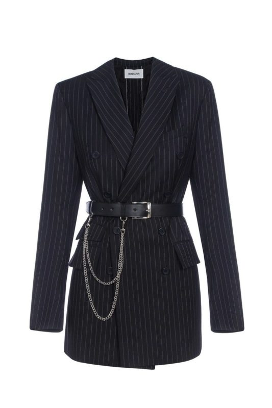 Striped jacket with back buttons