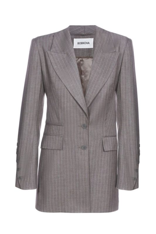 Striped jacket with slanting vents on the sleeves