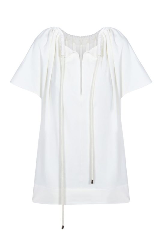 Cream T-shirt with a drawstring