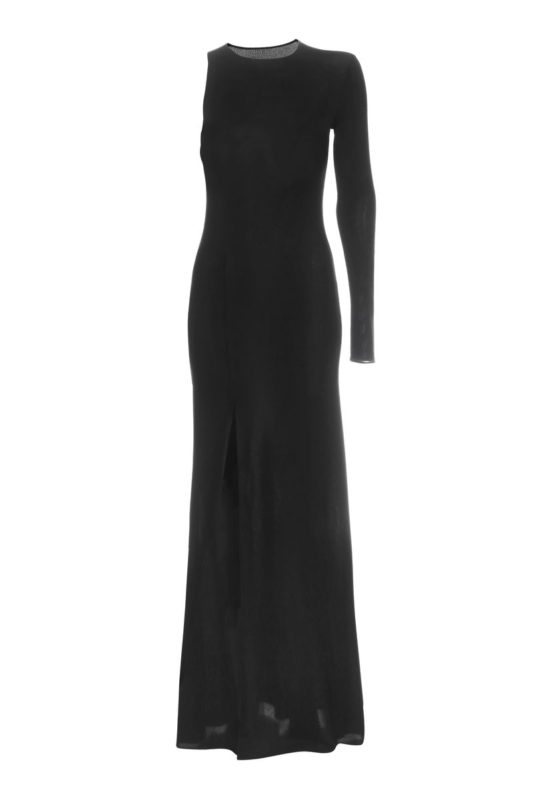 Black maxi one-shoulder dress
