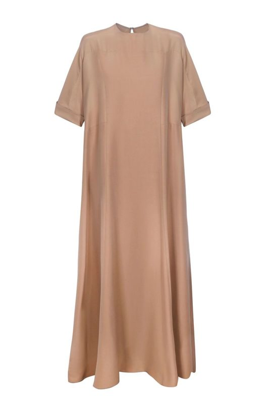 Nude boiled silk dress