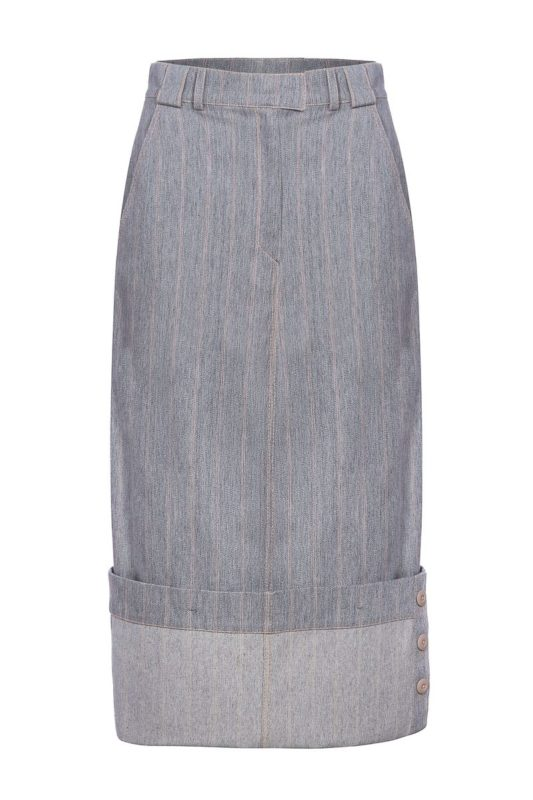 Grey skirt with turndown