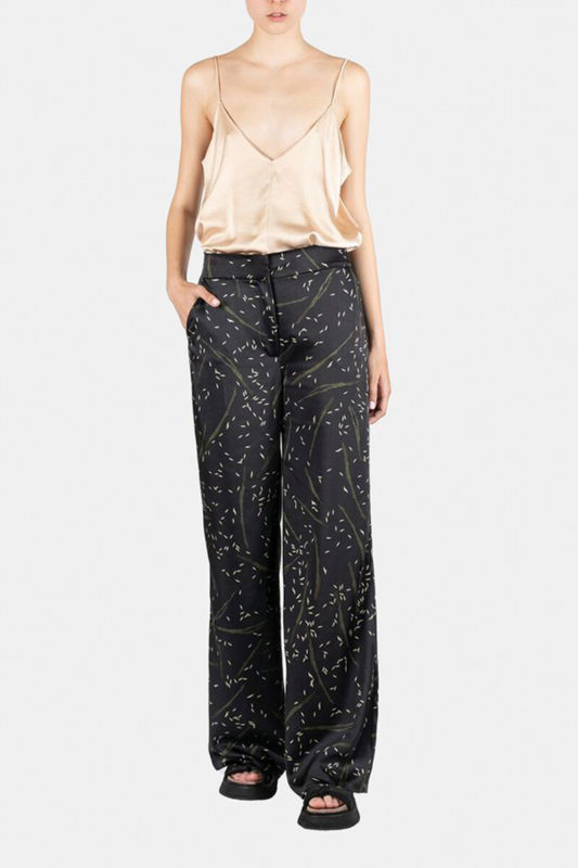 Black printed silk pants