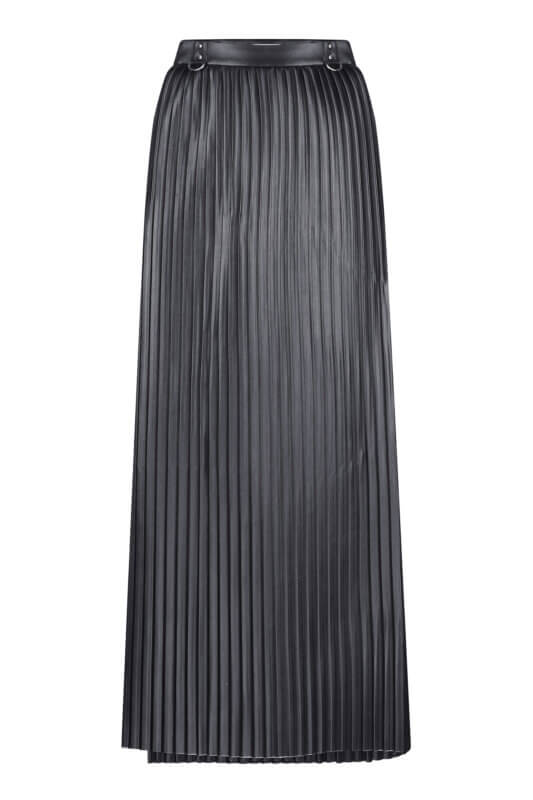 Eco-leather pleated skirt