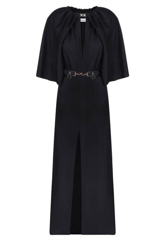 Black maxi dress with cape