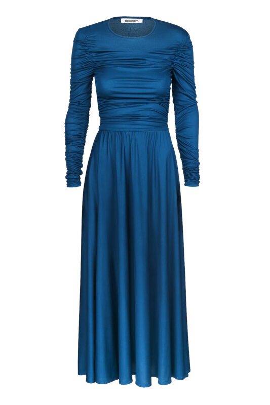 Knitted dress with drapery