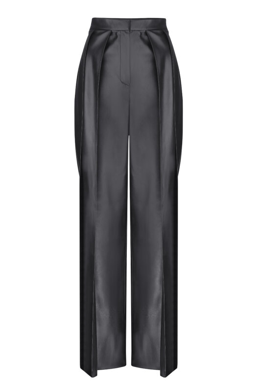 Eco-leather pants with pleats