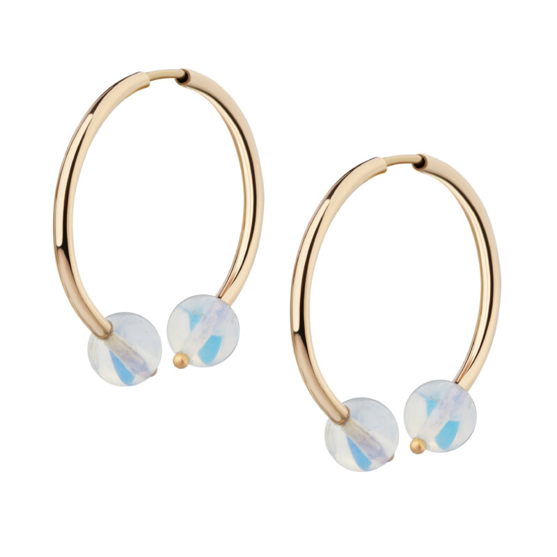 Earrings with moon-stone
