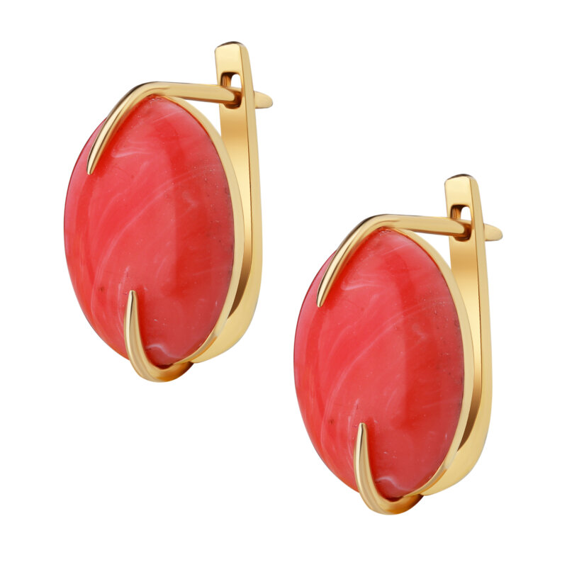 Earrings with coral stone