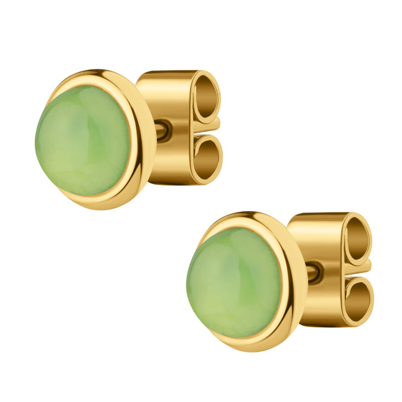 Stud earrings with green stone