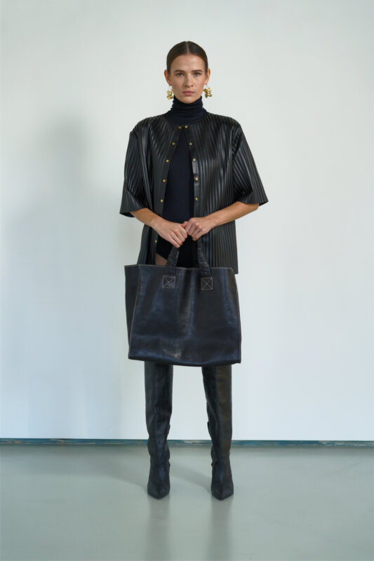 Eco-leather pleated jumper