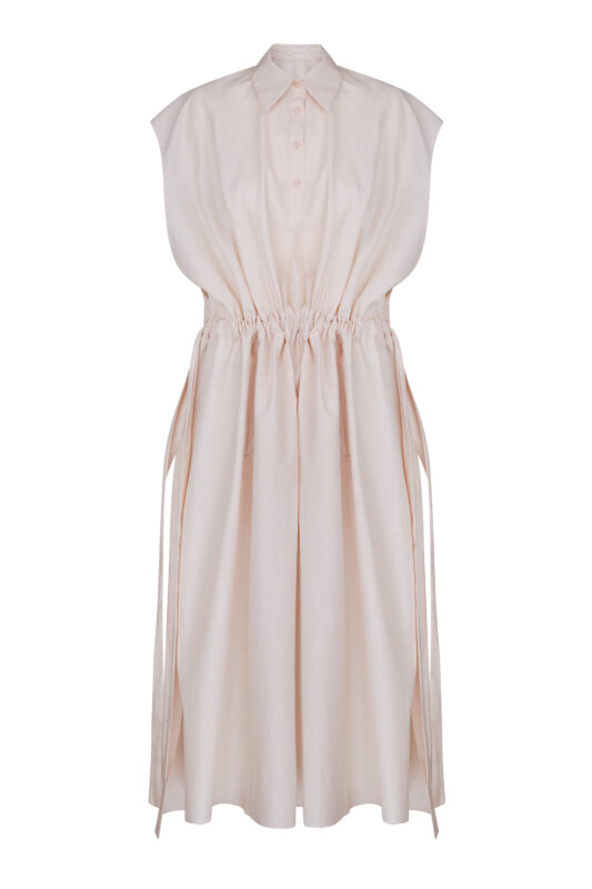 Cotton dress with bands