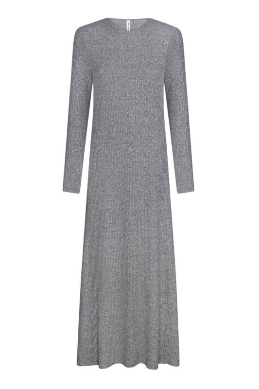 Grey knitted dress with belt