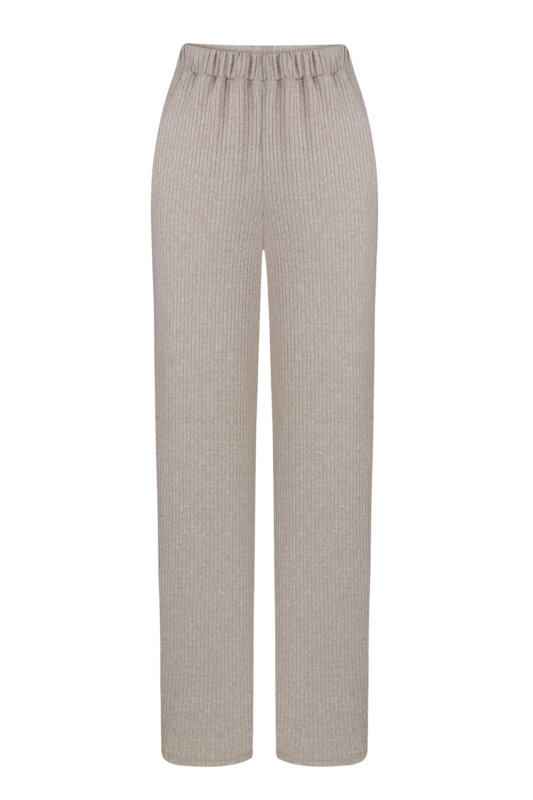 Beige knitted pants